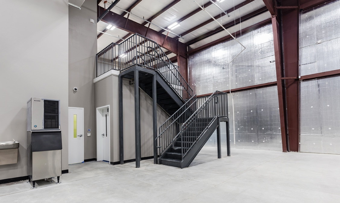 Industrial building interior staircase