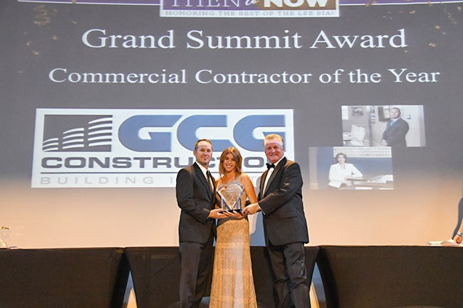 Teely and Lerin accepting Commercial Contractor of the Year Award