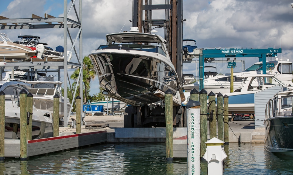 Boat on MarineMax Lift