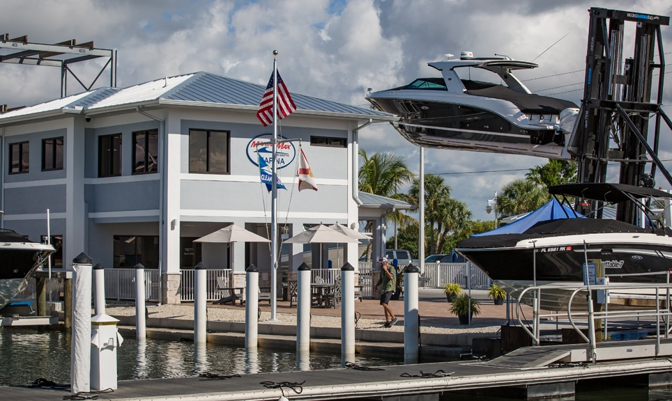 MarineMax Marina with boat on hoist