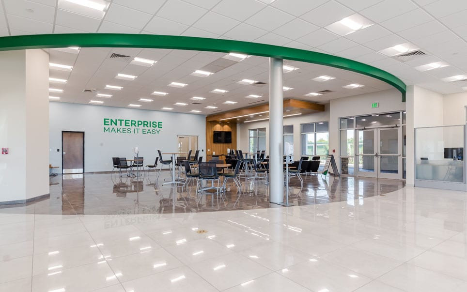 Enterprise Car Rental seating area and exit